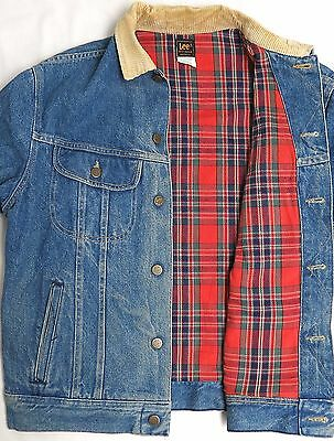 vtg Lee BLUE DENIM Red Flannel Lined JACKET M trucker 80s Corduroy Collar MED