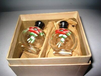 New Old Stock Vintage Tole Pink Roses Glass Salt & Pepper Sterling Tops w/Box