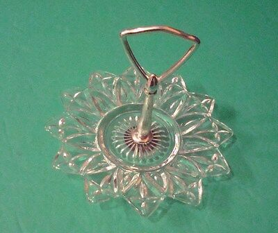 "Vintage Federal Clear Glass Petal Pattern 6 1/2"" Tidbit Plate with Handle"