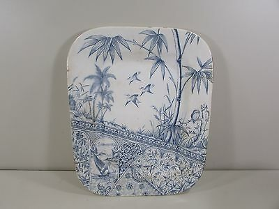 Antique Willets Trenton NJ Tropics Blue White Transferware 13 1/4x16 3/4 Platter