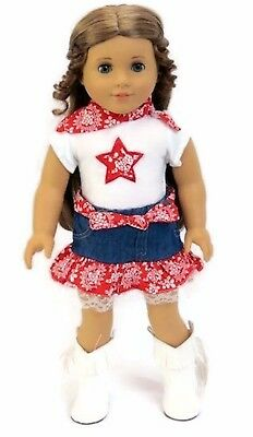 Red, White, & Blue Western Skirt Set made for 18 inch American Girl Doll Clothes