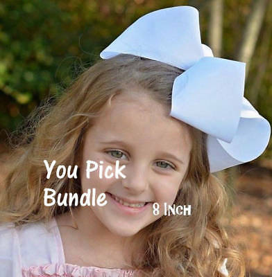 Girls big bows dance hairbows boutique PICK 8 large 8 inch jumbo back to school