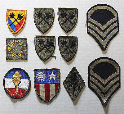 Lot U.S. Army Military Rank & Service Insignia Uniform Patches set of 11 Mixed