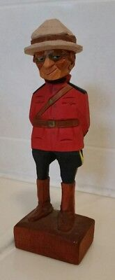 "Vintage Wood Carving Canadian Mountie 6 1/2""  Figurine by Tom Hannah Hand Carved"