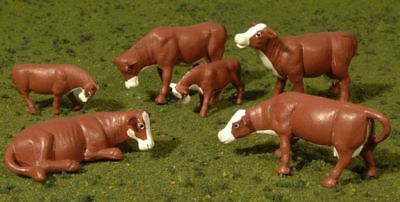 BACHMANN - 33152 - COWS - BROWN & WHITE (6pcs/pk) - O
