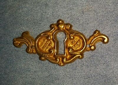 Vintage Cast Brass Antiqued Brass Ornate Keyhole Cover Escutcheon NOS