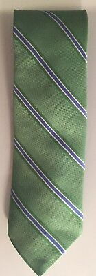 Brooks Brothers Green Tie With Blue Stripes 100% Silk & MADE IN USA
