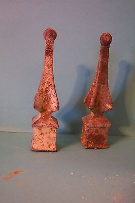 Vintage Cast Iron Finials Weathered and Rusted 4.25 in Tall Not Reproductions