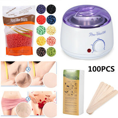 Wax Warmer Heater Machine+300/100g Waxing Hard Beans+100pcs Hair Removal Sticks