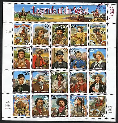 """#2870 """"legends Of The West"""" Pane Of 20 Recalled W/ Pf Cert Pre First Day Wlm3792"""
