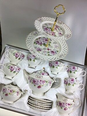Coffee/Tea Set 17 Pieces & 2 Tier Cake Stand Porcelain White & Lilac