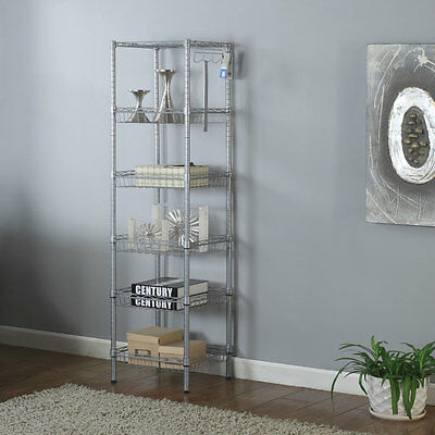 "Heavy Duty 6 Tier 63x14x14"" Wire Shelving Rack Adjustable Shelf Storage Gray"