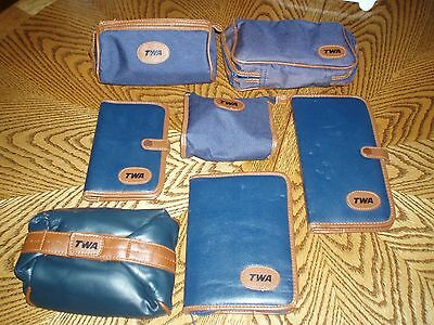 VINTAGE TWA LOT OF 7 UNUSED TRAVEL KITS  All Different - Blue/Brown Leather Trim