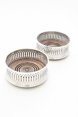Pair of Solid Silver Wine Coaster
