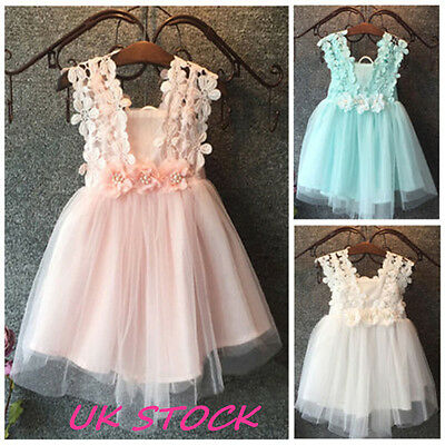 Kids Flower Girl Dress Lace Tulle Backless Sundress Formal Party Dress UK Stock