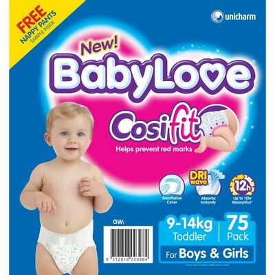 Babylove Nappies Toddler  JUMBO 75 (Limit of 1 per order) NEW