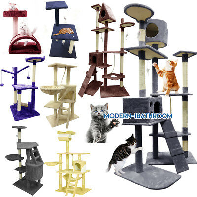 40-180cm Tall Cat Tree Toys Bed Scratcher Scratching Post Activity Centre Cando