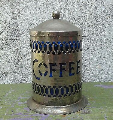 Vintage Leonard England Coffee Container With Cobalt Blue Insert Canister
