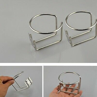 2X Stainless Steel Boat Ring Cup Drink Holder For Marine Yacht Truck RV - New