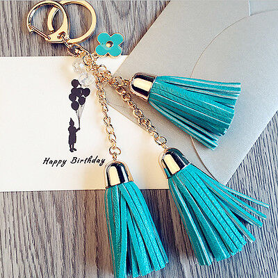 Women Flower Tassel Charm Key Chain Ring Handbag Bag Accessory Pendant Keyring