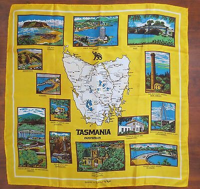 Souvenir of Tasmania satiny vintage scarf by Neil