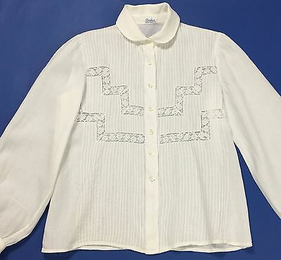 Garbo camicetta camicia top pizzo bianca shirt donna manica lunga vintage T1914
