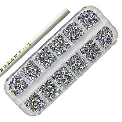 3000 Silver Nail Art Acrylic Rhinestone 2Mm Round Diamante Gems - Picker Tool