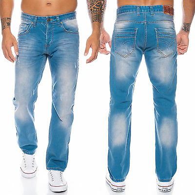 Rock Creek Designer Herren Jeans Hose Denim Regular Slim Jeans Hellblau LL-321