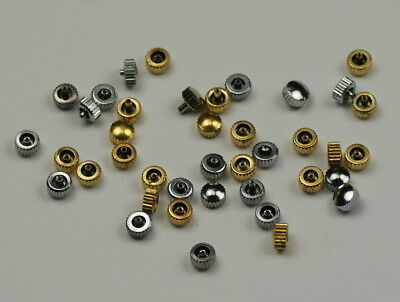 New watch crowns mixed gold silver spares repairs watchmakers parts assortment.