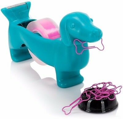 Wiener Dog Tape Dispenser W/ 8 Bone Paper Clip 2 Roll Tapes Magnetic Doggy Bowl