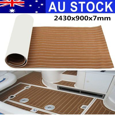 AU 240x90cm 7mm Marine Flooring Teak Foam Boat Yacht Decking Sheet Self-Adhesive