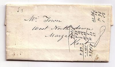 1835 Pre-stamp letter to Margate, Kent