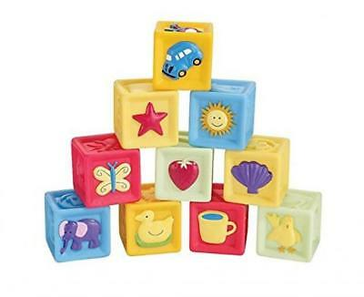 Squeeze and Stack Block Set BPA Free Soft Baby Building Blocks Toys of 10 by...
