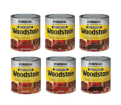 Ronseal Quick Drying Wood Stain-Long lasting Rainproof 30Mins Gloss Finish 750ml