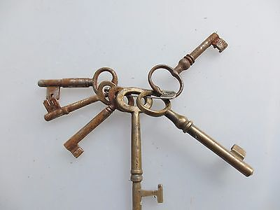 Antique Keys on Loop Brass & Iron Vintage Old Door x6