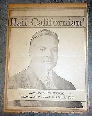 1928 San Francisco Newspaper Page - California Welcomes Herbert Hoover