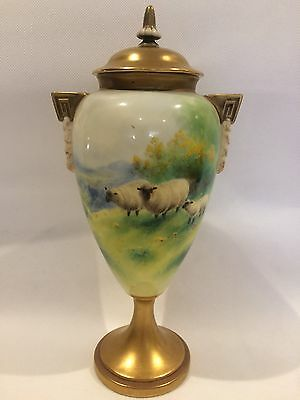 Royal Worcester Hand Painted Vase Signed Harry Davis