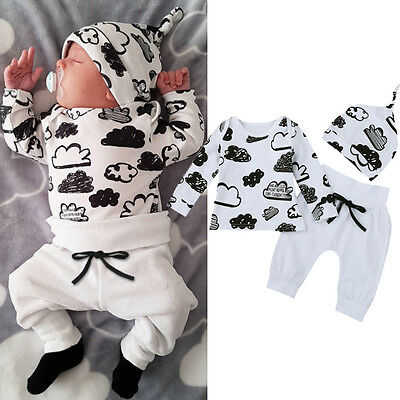 Infant Newborn Baby Girl Boy T-shirt Tops+Pants Trousers+Hat 3PCS Outfit Clothes