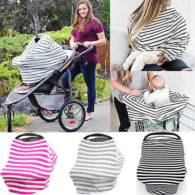 Multi-Use Baby Car Seat Cover Canopy Nursing Breastfeeding Apron Scarf Shawl UK