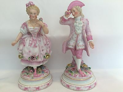 Antique Pair Wallendorff German Porcelain Figurins Circa 1787