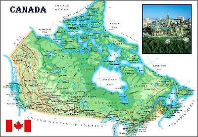 Canada Country Map New Postcard