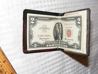 1963 $2 DOLLAR BILL RED SEAL with 1963 bank holder & calendar it came with