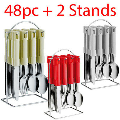 New 48Pc Cutlery Dinner Set Stainless Steel Metal Stand Rack Forks Tea Spoons