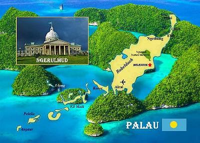 Palau Country Map New Postcard