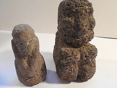 2 Nicoya Stone Figures Costa Rica Pre-Columbian Archaic Ancient Artifacts Mayan