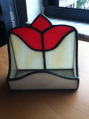 Vintage Leaded Tulip Stained Glass Candle Holder Tea Light or Votive