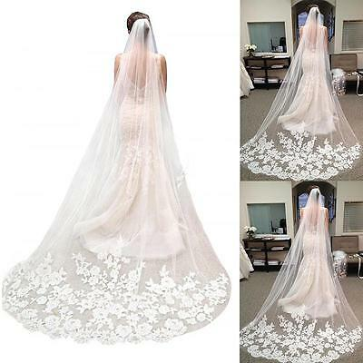 Elegant White Ivory Lace Edge Cathedral Length Wedding Bridal Veil + Comb CAST