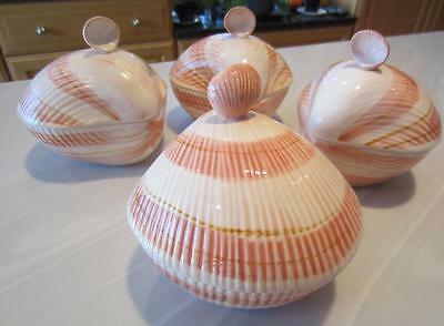 """2 COQUILLE Fitz & Floyd FF CLAM CHOWDER Shell BOWLS wLIDS 5¼"""" Pink-Coral H'Paint"""
