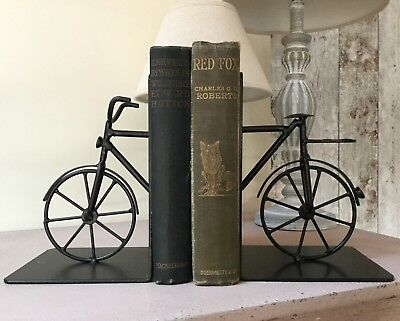 Black Metal Vintage Style Bike Bicycle Bookends Cycling Cyclist Gift Old Fashion