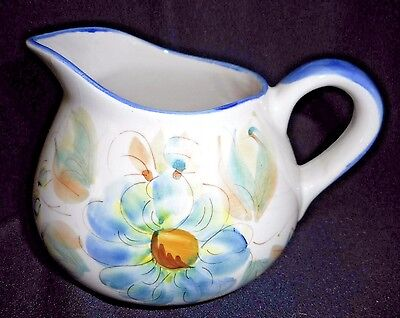 Vintage Squat Bodied Pitcher Hand Painted Floral Design - Made in Portugal